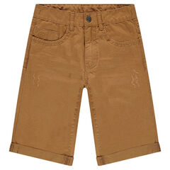 Junior - Crinkled-effect twill bermuda shorts with pockets