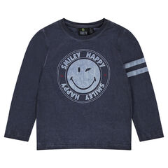 Long-sleeved tee-shirt with ©Smiley print