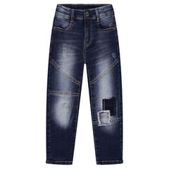 Used-effect low-crotch jeans with patches and tears