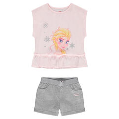 Ensemble with a box fit tee-shirt featuring a ©Disney Frozen print and jersey shorts