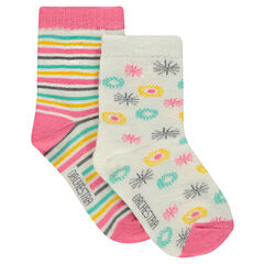 Set of 2 pairs of striped / allover motifed socks