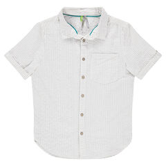 Short sleeve shirt with all-over stripes