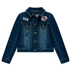 Junior - Denim jacket with embroidery and badges