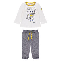 Set comprising a tee-shirt featuring a robot print and twisted fleece pants