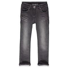 Denim-effect fleece jeans