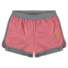 2-in-1 sports shorts with integrated undershorts and a printed logo