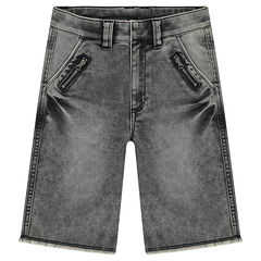 Junior - Used-effect denim-like bermuda shorts with zipped pockets