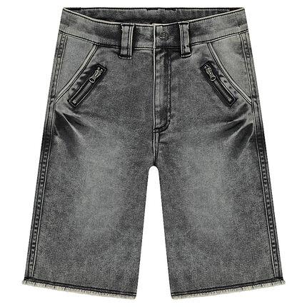 Junior - Used-effect denim-like bermuda shorts with zipped pockets