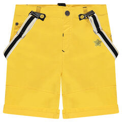 Yellow bermuda shorts with removable suspenders and ©Disney Mickey Mouse embroidery