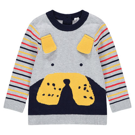 Knit sweater with 3D ears, and contrasting stripes on the sleeves