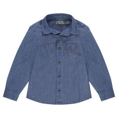 Long-sleeved cotton shirt with pockets