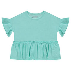 Short-sleeved frilled box fit slub jersey tee-shirt