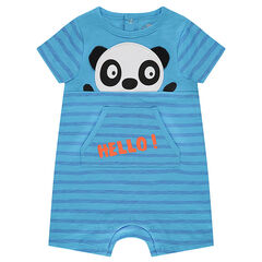 Slub jersey romper with a panda in relief and a snap-fastened back