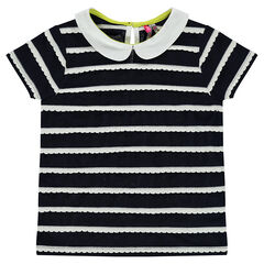 Short-sleeved tee-shirt with trendy stripes and a Peter Pan collar
