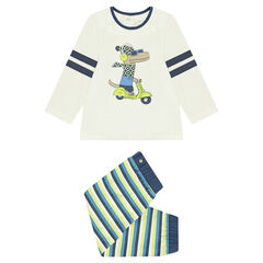 Jersey pajamas with a dinosaur print and striped pants