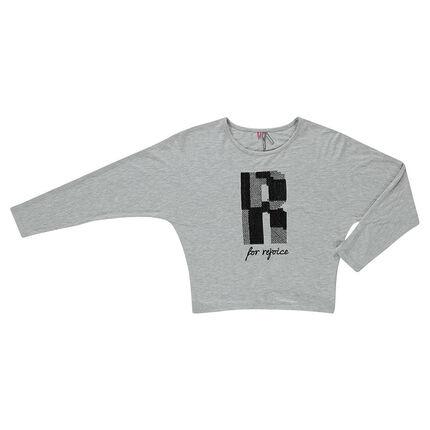 Junior - Tee-shirt manches chauve-souris avec lettre en résille et sequins