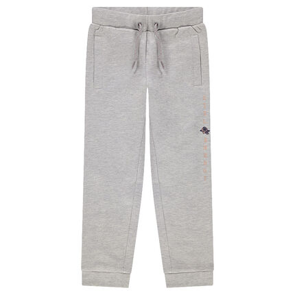 Fleece sweatpants with printed message