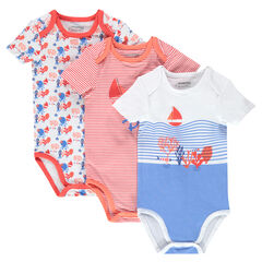 Set of 3 sailor-style bodysuits with opening adapted according to the age
