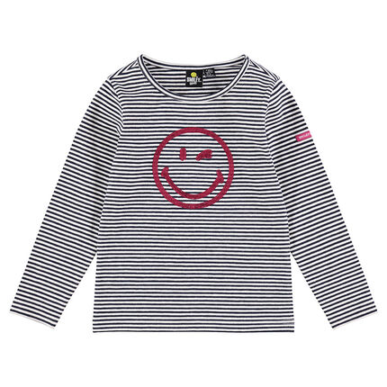 Thin striped jersey sweater with a sequined ©Smiley