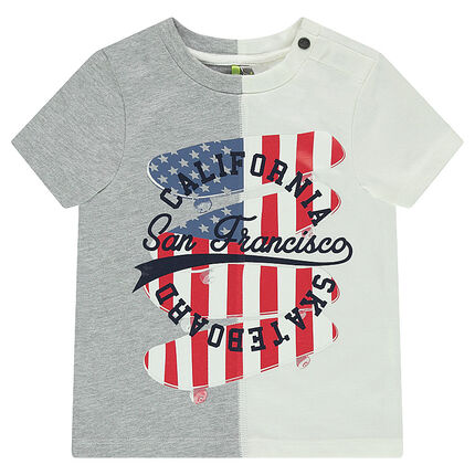 Short-sleeved two-tone jersey tee-shirt with printed skateboards