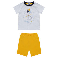 Ensemble with a striped tee-shirt featuring an elephant print and jersey bermuda shorts