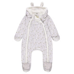 Sherpa snowsuit with golden rabbits printed all over
