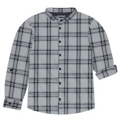 Plaid Long Sleeve Shirt with Mao Collar
