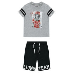 Ensemble with a tee-shirt featuring a lion print and printed fleece bermuda shorts