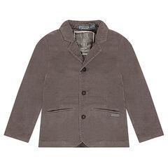 Jersey-lined taupe velvet blazer