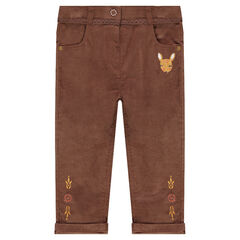 Slim fit velvet pants with an embroidered fawn and lace trim