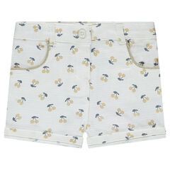 Cotton shorts with allover printed cherries