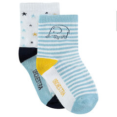 Set of 2 pairs of assorted socks with elephant/stars motif