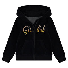 Junior - Hooded velvet jacket with a sparkly message