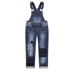 Used-effect denim overalls with patches on the legs