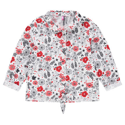 Long-sleeved shirt with contrasting flowers