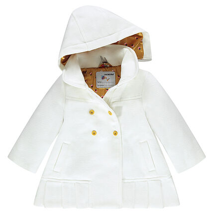 Woolen-effect coat with removable hood and satin lining
