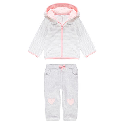 Sweatsuit with a striped jersey jacket and fleece pants with heart patches