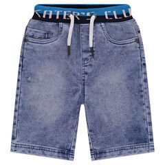 Bermuda shorts in faded jeans with elasticated waist