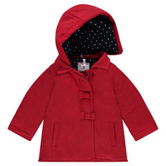 Wool cloth coat with a lining featuring allover polka dots