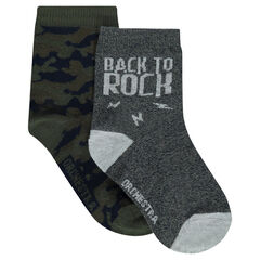 Set of 2 pairs of assorted army/plain-colored socks