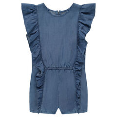 Short overalls in Tencel with frills