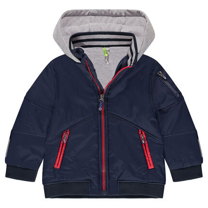 Jersey-lined nylon jacket with zipped pockets
