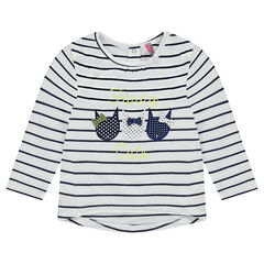 Long-sleeved striped tee-shirt with cat patches