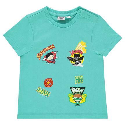 Short-sleeved tee-shirt with JUSTICE LEAGUE - CHIBI superhero badges