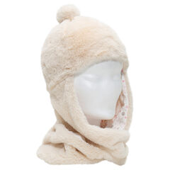 Sherpa scarf cap with jersey lining and pompom