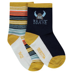 Set of 2 pairs of assorted socks with viking motif and stripes