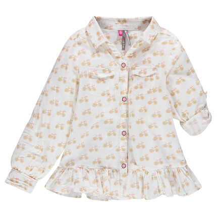 Frilly bicycle print shirt with roll-up sleeves