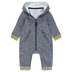 Cable knit snowsuit with jersey lining