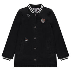 Junior - Long quilted coat in cotton denim with badges