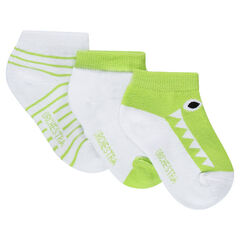 Set of 3 pairs of ankle socks with a jacquard crocodile and stripes